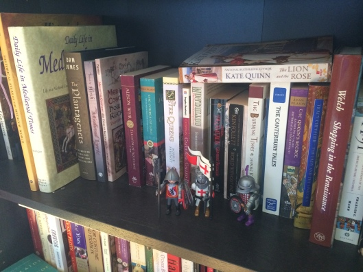 medieval shelft of my history bookcase (complete with knights to guard it)