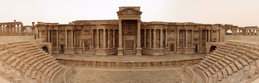 Panoramic view of the Roman theatre in Palmyra (from Wikimedia Commons)