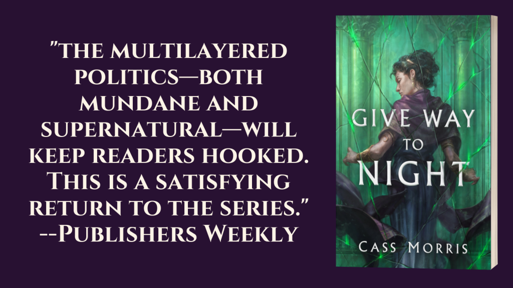 "Book cover showing a dark-haired woman in purple against a green backdrop; with text: ""The multilayered politcs -- both mundane and supernatural -- will keep readers hooked. This is a satisfying return to the series."" -- Publishers Weekly"